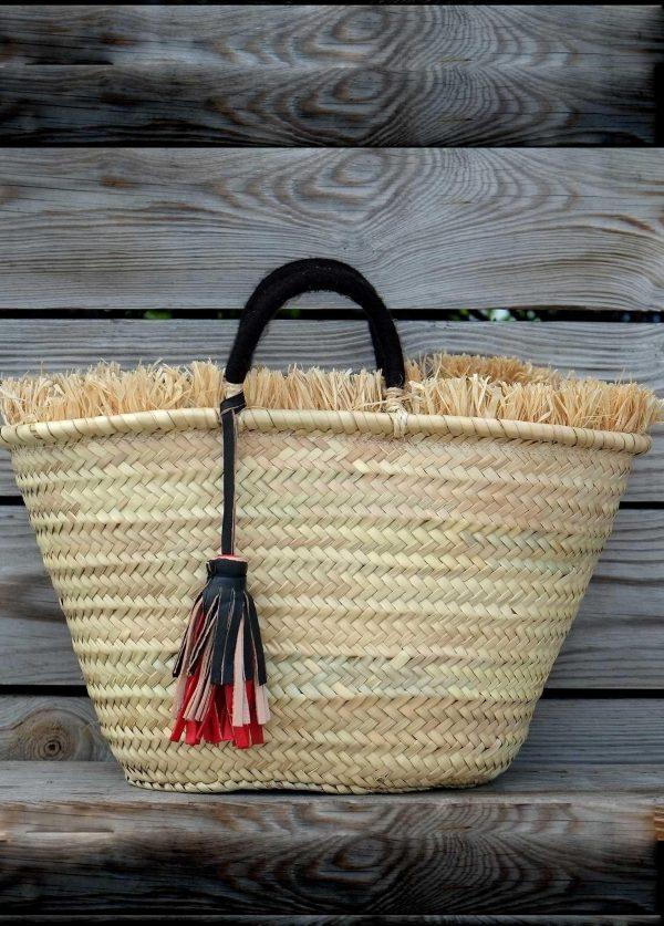 Straw Basket with Rafia and Pompom