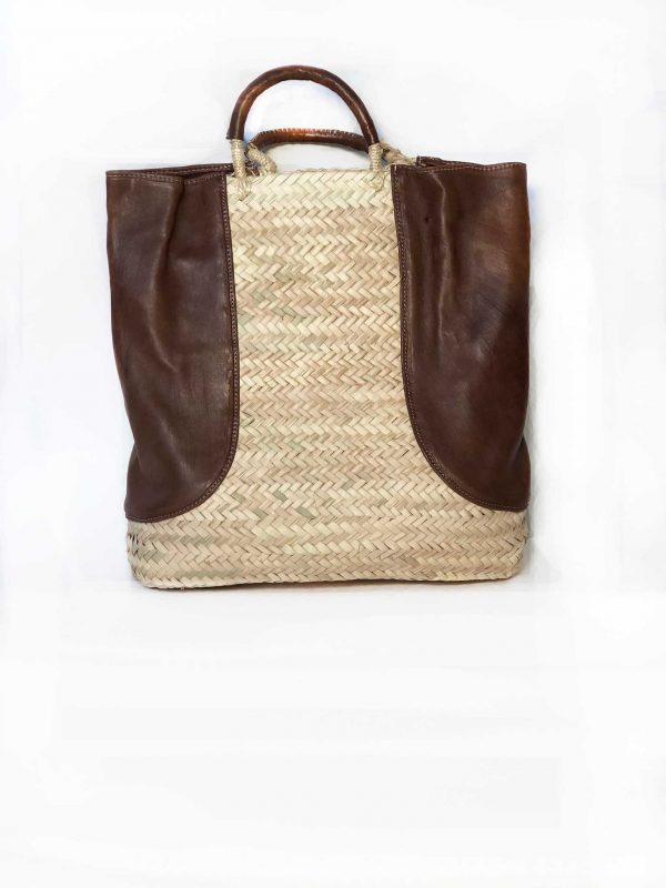 Straw Bag With Leather Sides