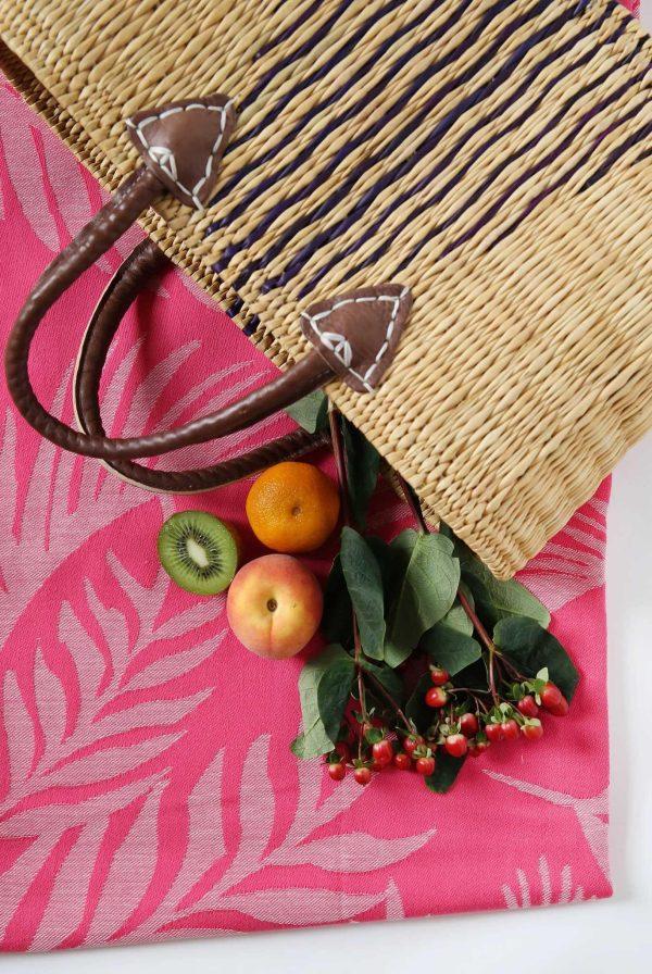 Large Beach Basket Triangular Design Bicolor