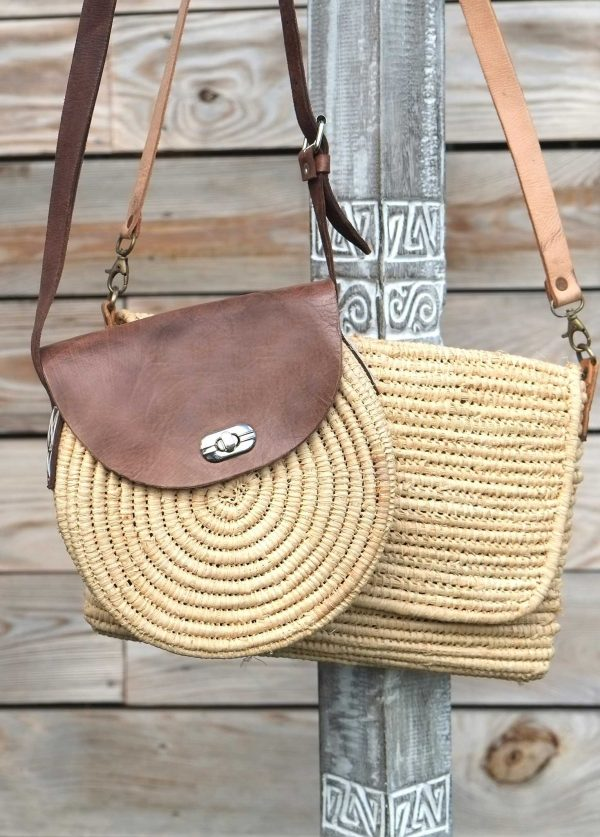 Raffia and Leather Round Crossbody
