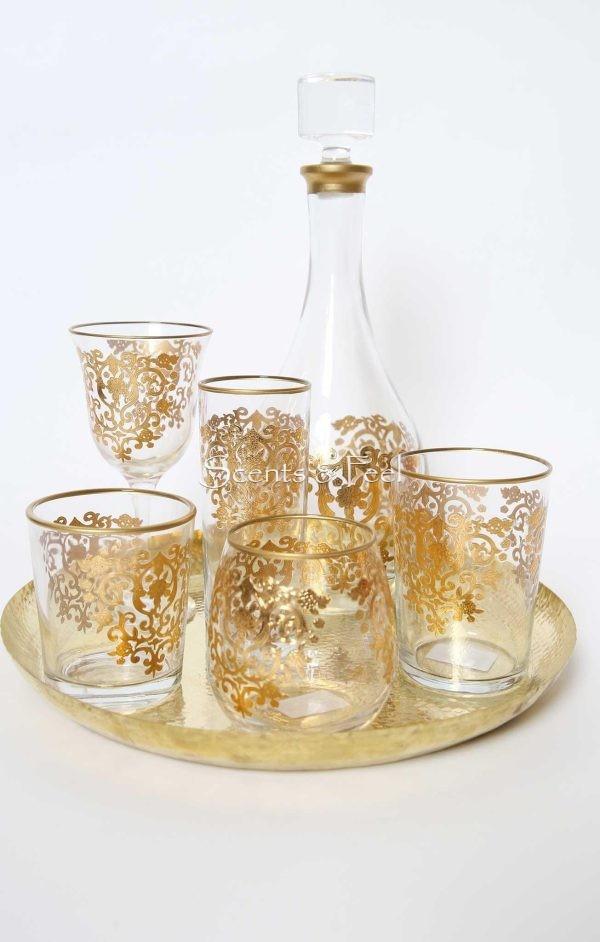 Set of 6 Set of Wine Glasses Amira Gold