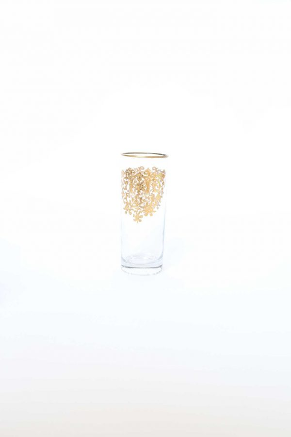 Set of 6 Tall Glasses Amira Gold