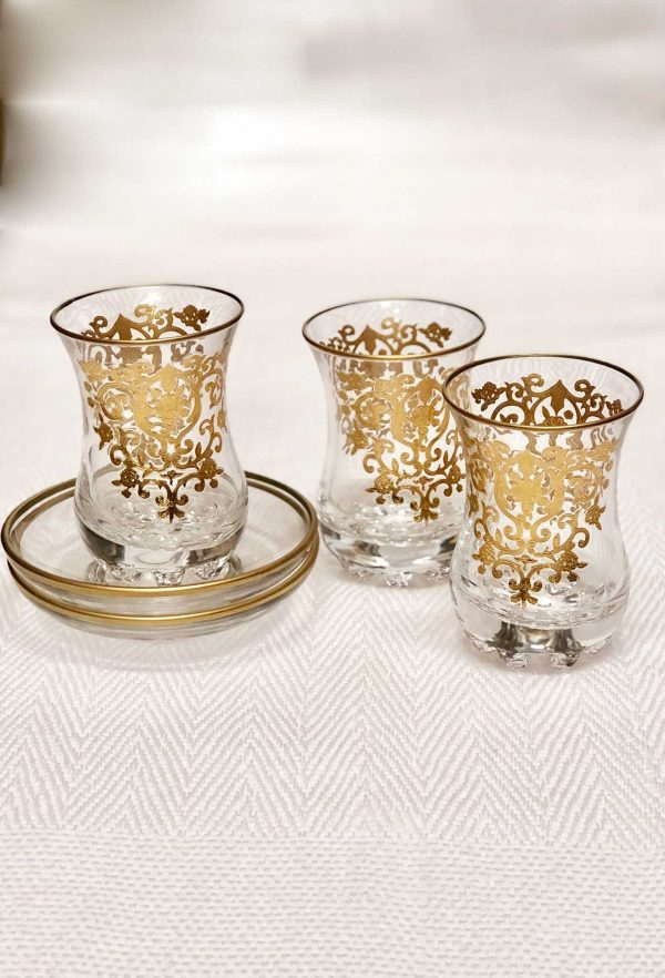 Set of 6 Tea Glasses and its saucers Amira Gold