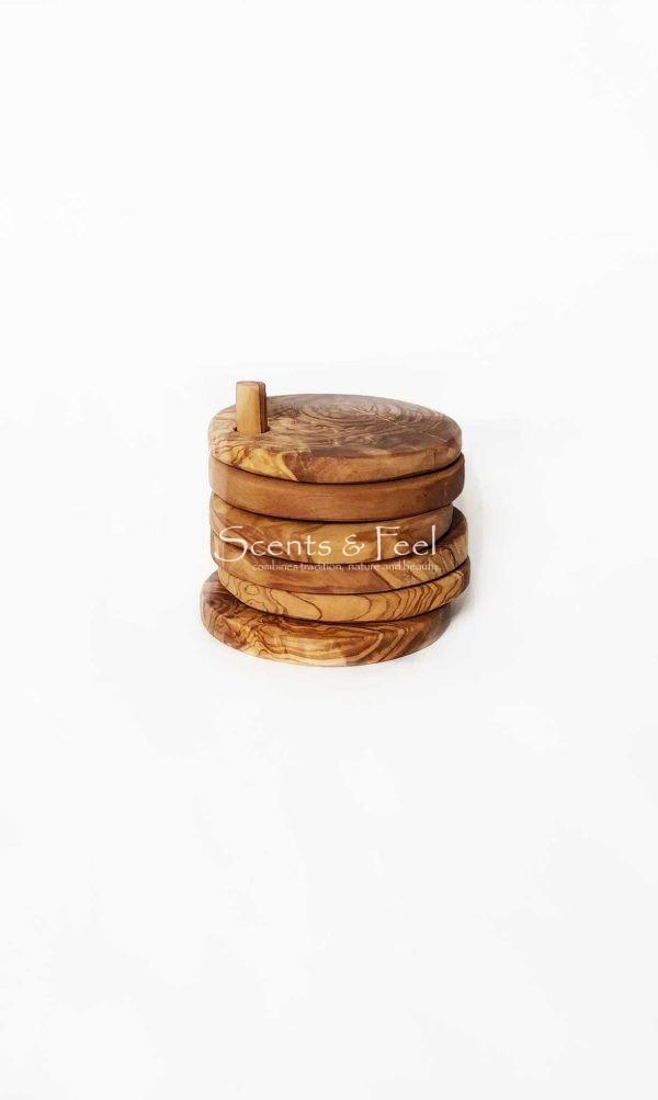 Olive Wood Set of 6 Coasters Round