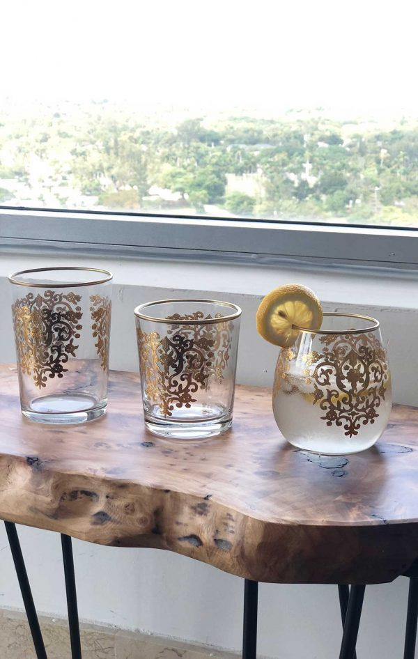 Set of 6 Drinking Glasses Amira Gold