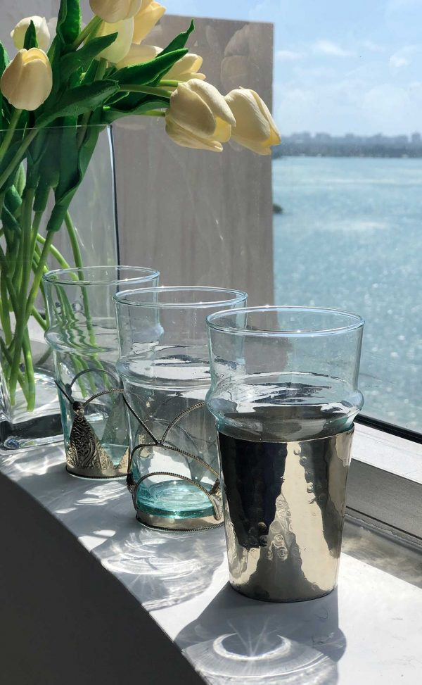 Set of 6 Recycled Glasses Hammered Metal Silver