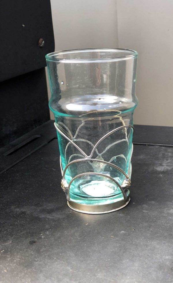 Set of 6 Recycled Glasses with Arabesque Cooper Silver