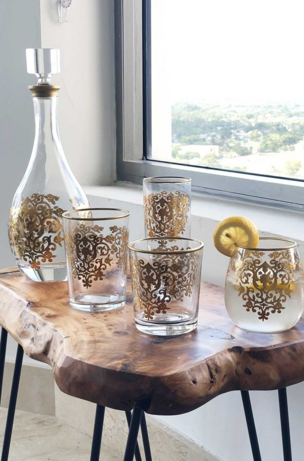 Set of 6 Set of Drinking Lave Glasses Amira Gold