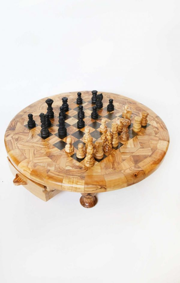Olive Wood Round Chess Game