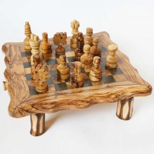Olive Wood Small Sqaure Chess Set Game