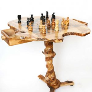 Olive Wood Large Square Table Chess Set Game