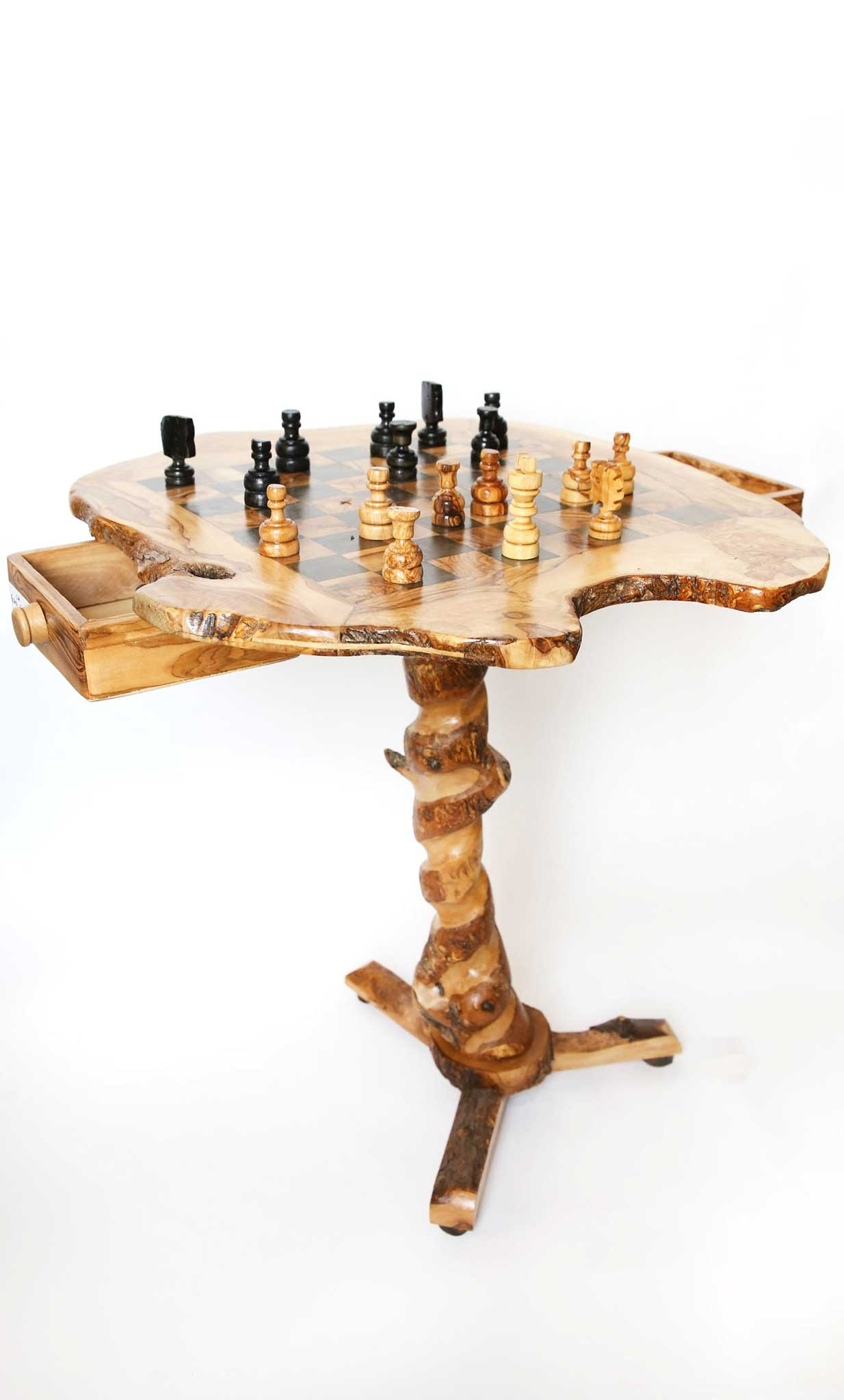Olive Wood Large Square Table Chess Set
