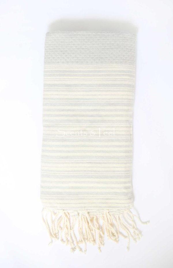 Fouta Bath Towel Stripes Positive Negative Grey Off White
