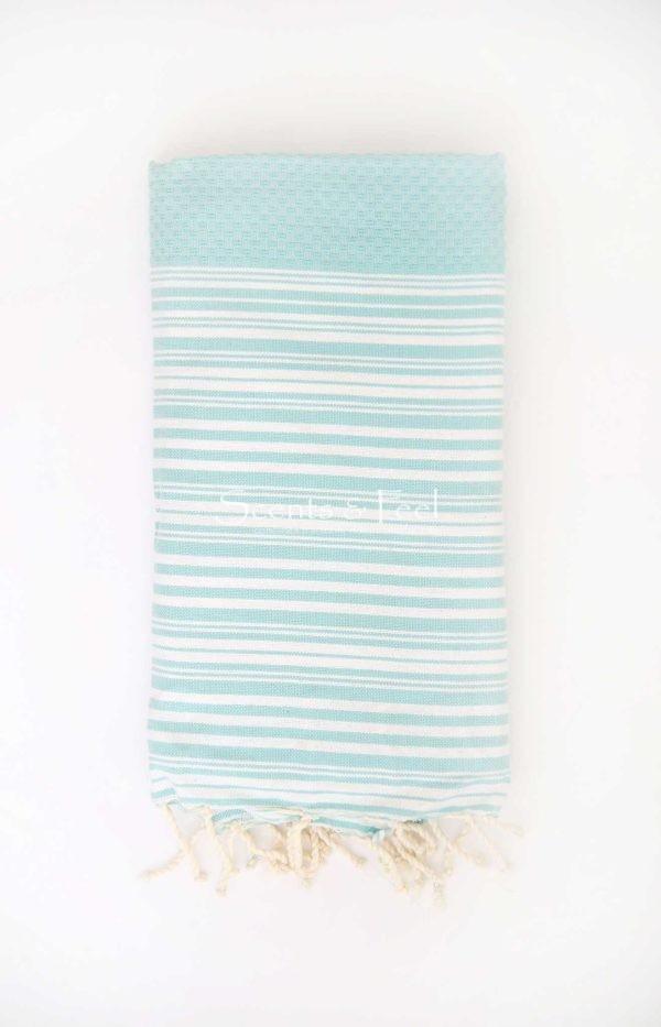 Fouta Bath Towel Stripes Positive Negative Aqua White