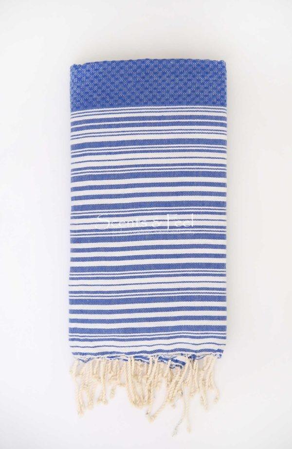 Fouta Bath Towel Stripes Positive Negative Blue White
