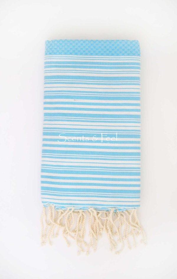 Fouta Bath Towel Stripes Positive Negative Turquoise White