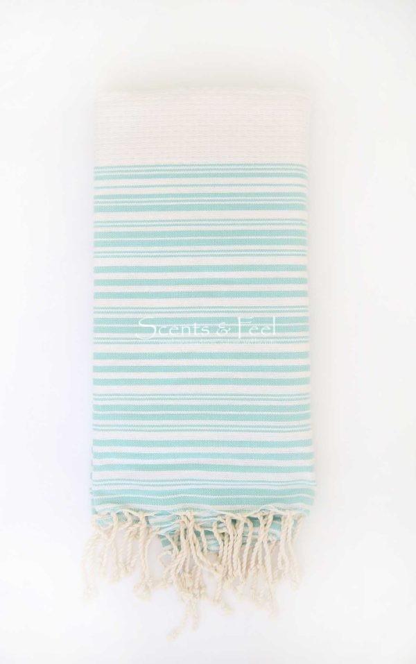 Fouta Bath Towel Stripes Positive Negative White Aqua