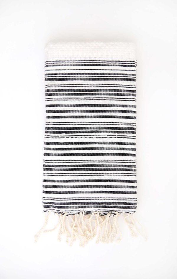 Fouta Bath Towel Stripes Positive Negative white Black