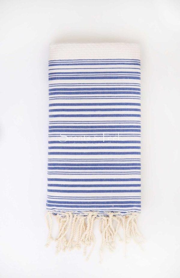 Fouta Bath Towel Stripes Positive Negative White Blue