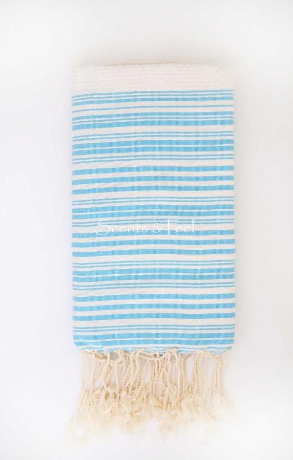 Fouta Bath Towel Stripes Positive Negative White Turquoise