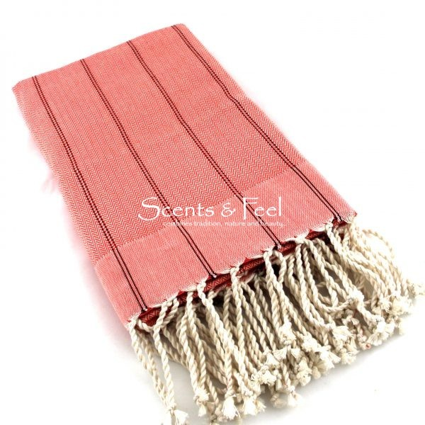 Fouta Vertical Stripes Orange Throw