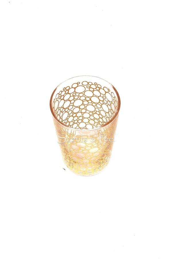Set of 6 Tea Glasses Bubble Clear Gold