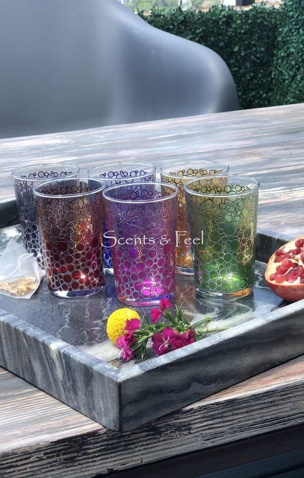 Set of 6 Moroccan Tea Glasses Color Silver Bubble