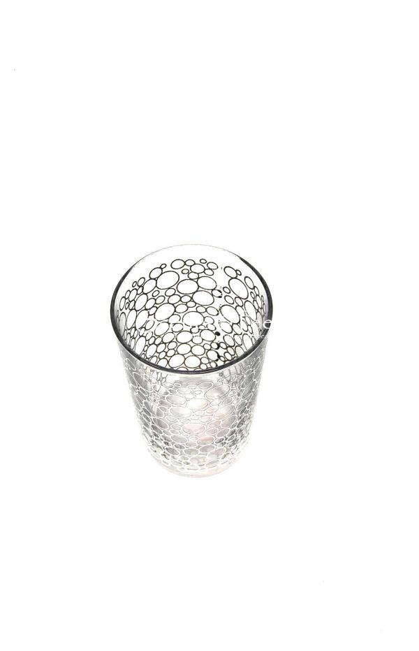 Set of 6 Tea Glasses Clear Bubble Design Silver