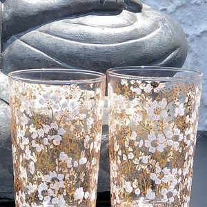 Set of 6 Painted Tea Glasses Flower Gold