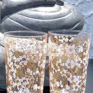 Set of 6 Painted Tea Glasses Flower Gold