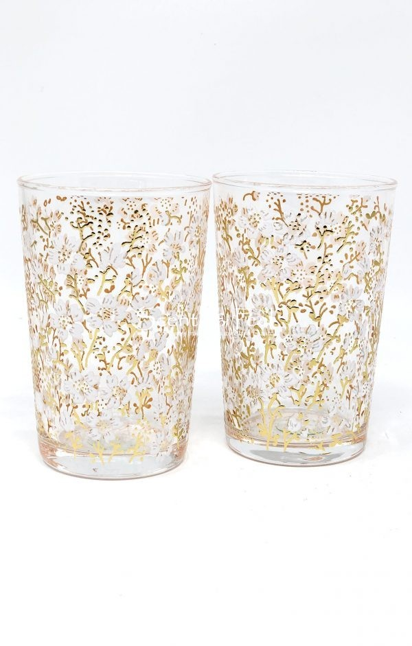 Set of 6 Hand Painted Moroccan Tea Glasses Flower Gold