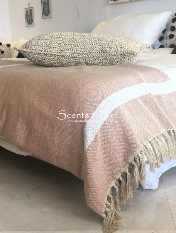 Throw Blanket Bi Color Nude Off White