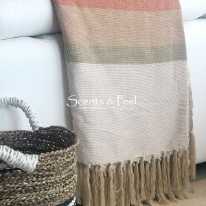 throw tricolor Beige Red