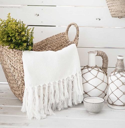 Throw Hand Woven Blanket Herringbone White