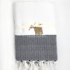 Herringbone Throw Blanket Bicolor White Black