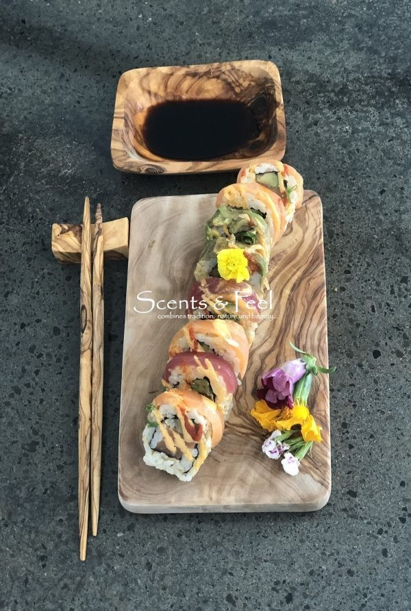 olive wood hand crafted board sushi set for 2