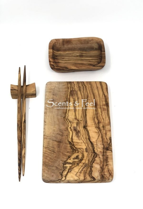 olive wood hand crafted board sushi set