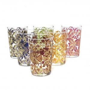 moroccan tea glasses gold Flower