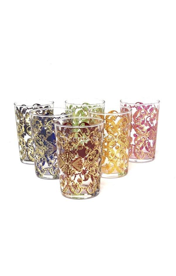 moroccan tea glasses gold Flower