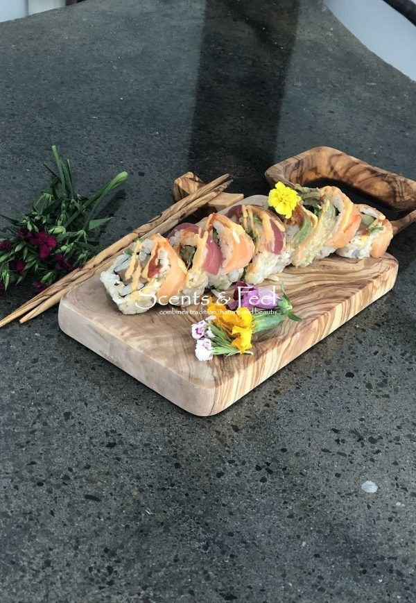 olive wood board sushi set