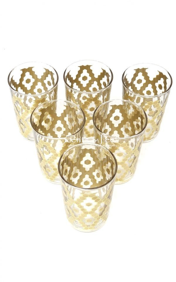 set of 6 painted tea moroccan glasses clear nectar gold