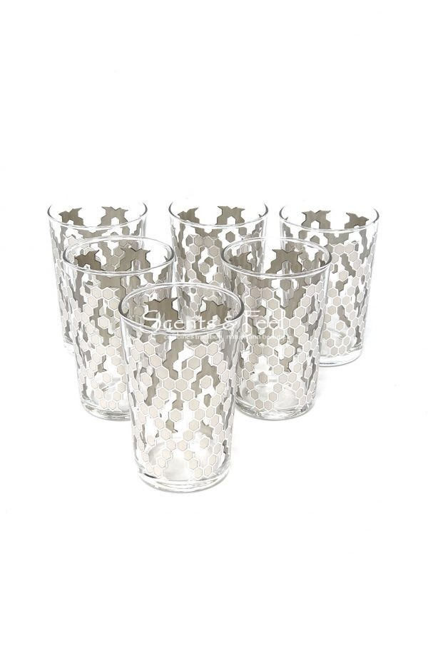 set of 6 painted tea moroccan glasses nectar clear silver
