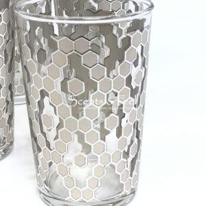 set of 6 painted tea moroccan glasses nectar silver